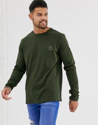 BOSS - Tacks - Langärmliges Shirt mit kleinem Logo in Khaki-Grün
