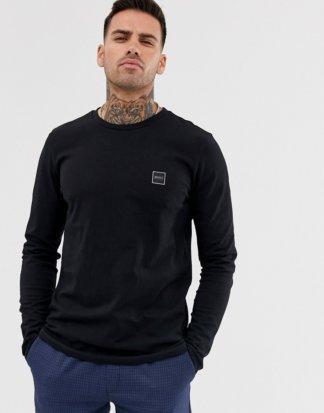 BOSS - Tacks - Langärmliges Shirt mit kleinem Logo in Schwarz