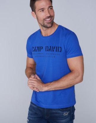 Basic T-Shirt mit Logo-Stickerei Farbe : action blue , Größe: L