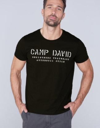 Basic T-Shirt mit Logo-Stickerei Farbe : black , Größe: L