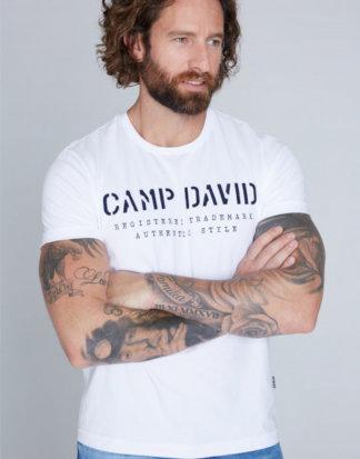 Basic T-Shirt mit Logo-Stickerei Farbe : opticwhite , Größe: L
