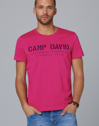 Basic T-Shirt mit Logo-Stickerei Farbe : red purple , Größe: L