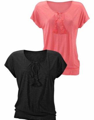 Beachtime T-Shirt (2er-Pack) mit geflochtenen Bändern und gesmoktem Saum