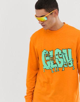 COLLUSION - Langärmliges T-Shirt mit Print-Orange
