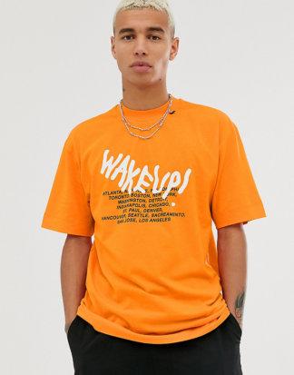 COLLUSION - T-Shirt mit weißem, im Dunkeln leuchtendem Print-Orange