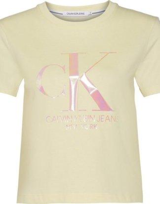 "Calvin Klein Jeans T-Shirt ""IRIDESCENT CK STRAIGHT TEE"" mit Calvin Klein Logo-Schriftzug aus irisierendem Folienprint"