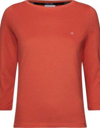 """Calvin Klein T-Shirt """"BOAT NECK 3./4 SLV"""" mit kleiner CK Logo-Stickerei"""