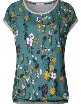 Cecil Print-Shirt mit Materialmix und einfarbigem Rücken