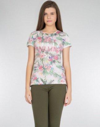 Colins Print-Shirt mit tropischem Alloverdruck
