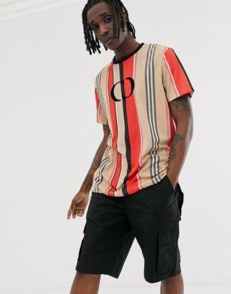 Criminal Damage - Gestreiftes Oversize-T-Shirt mit Logo-Mehrfarbig