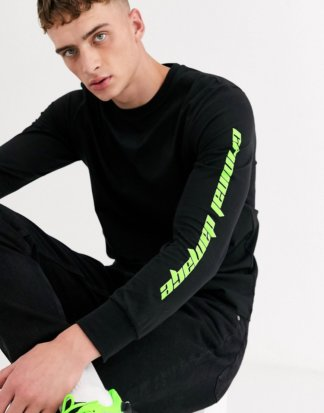 Criminal Damage - Langärmliges Shirt in Schwarz mit Neonlogo