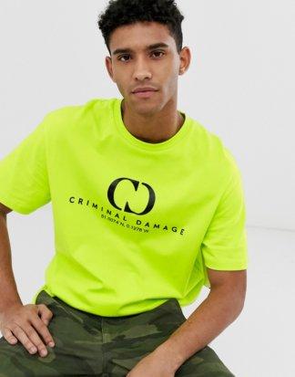 Criminal Damage - Oversize-T-Shirt in Neongelb mit Logo