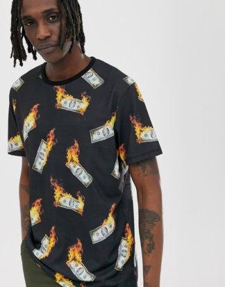 Criminal Damage - Oversize-T-Shirt mit Aufdruck von Geld in Flammen-Schwarz
