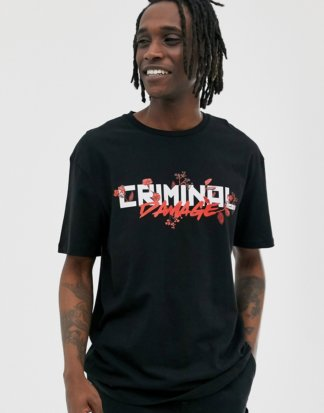 Criminal Damage - Schwarzes Oversized-T-Shirt mit Logo-Weiß