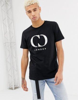 Criminal Damage - Schwarzes T-Shirt mit kariertem Logo