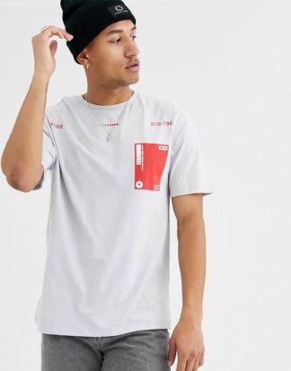 Criminal Damage - T-Shirt mit kontrastierender Tasche in Grau
