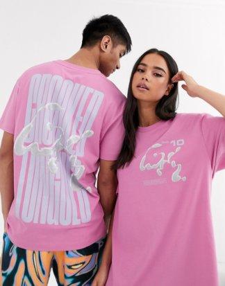Crooked Tongues - Unisex - Oversized-T-Shirt mit Logo und Metallic-Print-Rosa