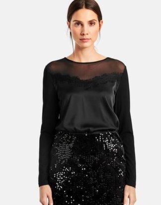 Elegantes Shirt mit Spitze Schwarz XS