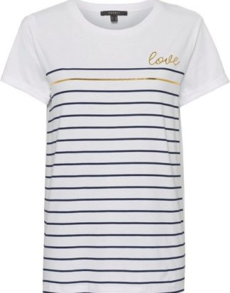 Esprit Collection T-Shirt mit Streifenprint in Metallic-Optik