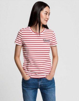 Gant T-Shirt im Streifen-Look mit Logo-Stickerei