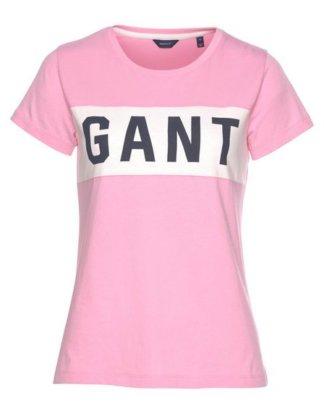 Gant T-Shirt mit kontrastfarbenem Label-Einsatz vorne