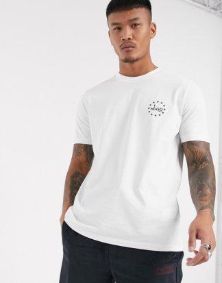 HUGO - Dauber - Weißes T-Shirt mit kleinem Logo auf der Brust