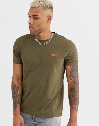 HUGO - Dero - T-Shirt mit kontrastierender Logo-Stickerei in Khaki-Grün