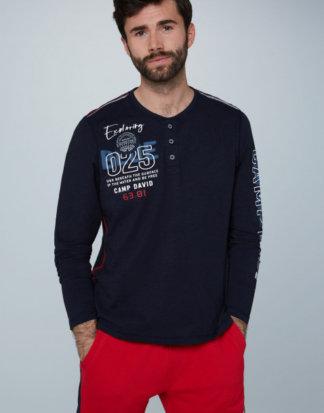 Henley-Shirt mit Label-Applikationen Farbe : deep sea , Größe: L