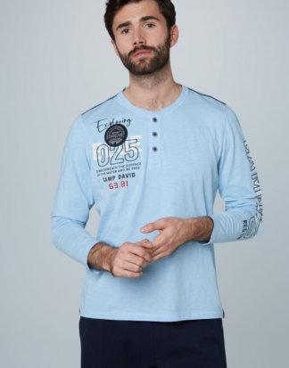 Henley-Shirt mit Label-Applikationen Farbe : summer blue , Größe: L