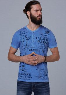 Henley-Shirt mit auffälligen Used Prints Farbe : sky blue , Größe: L