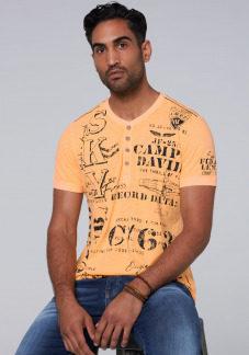 Henley-Shirt mit auffälligen Used Prints Farbe : sunrise neon , Größe: L