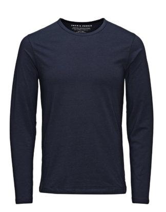 JACK & JONES Langarm-basic- T-shirt Mit Langen Ärmeln Herren Blau