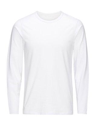 JACK & JONES Langarm-basic- T-shirt Mit Langen Ärmeln Herren White