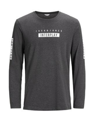 JACK & JONES Print T-shirt Mit Langen Ärmeln Herren Grau