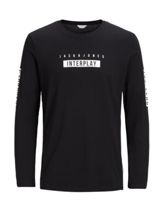 JACK & JONES Print T-shirt Mit Langen Ärmeln Herren Schwarz