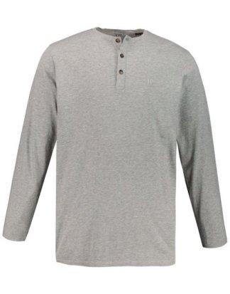 JP1880 T-Shirt bis 8XL, Langarm-Shirt, Henley, Knopfleiste, Rundhalsausschnitt
