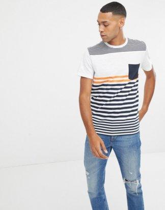 Jack & Jones - Core - Bunt gestreiftes T-Shirt-Weiß