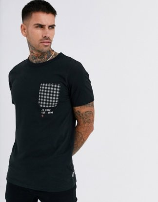 Jack & Jones - Core - Kariertes T-Shirt mit Tasche in Schwarz
