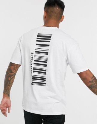 Jack & Jones - Core - Kastenförmiges T-Shirt mit Barcode-Print hinten in Weiß