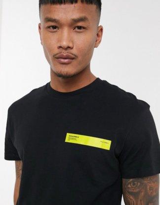 Jack & Jones - Core - Schwarzes T-Shirt mit Neon-Logo