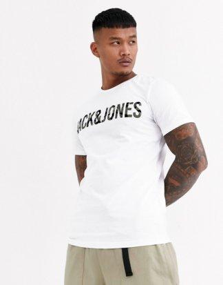 Jack & Jones - Core - Weißes T-Shirt mit Logo mit Military-Muster