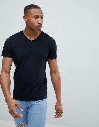 Jack & Jones - Essentials - Schmal geschnittenes T-Shirt mit V-Ausschnitt in Schwarz