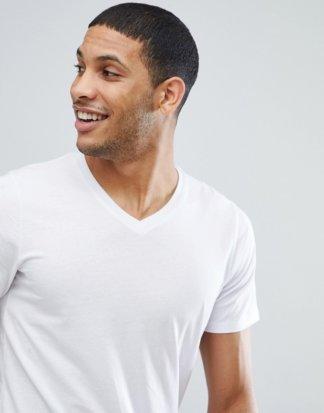 Jack & Jones - Essentials - Schmal geschnittenes T-Shirt mit V-Ausschnitt in Weiß