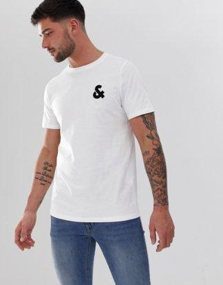 Jack & Jones - Essentials - T-Shirt mit Rundhalsausschnitt und Logo auf der Brust-Weiß