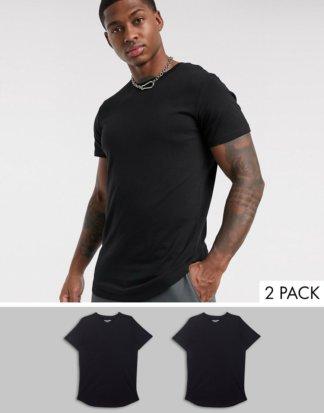 Jack & Jones - Originals - 2er-Pack T-Shirts mit abgerundetem Saum in Schwarz