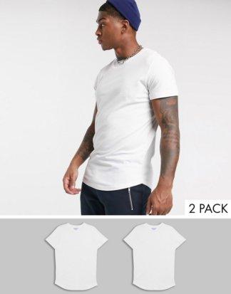 Jack & Jones - Originals - 2er-Pack T-Shirts mit abgerundetem Saum in Weiß
