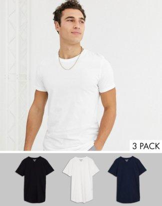 Jack & Jones - Originals - 3er-Pack bunte T-Shirts mit abgerundetem Saum-Mehrfarbig