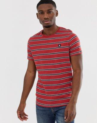 Jack & Jones - Originals - Gestreiftes T-Shirt mit Logoaufnäher auf der Brust-Rot