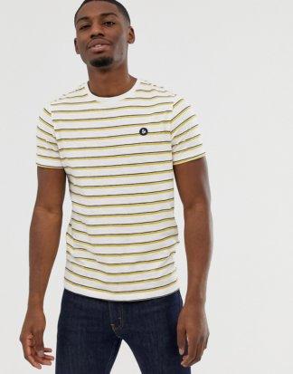 Jack & Jones - Originals - Gestreiftes T-Shirt mit Logoaufnäher auf der Brust-Weiß