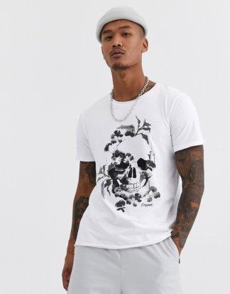 Jack & Jones - Originals - Lang geschnittenes T-Shirt in Weiß mit Totenkopfmotiv